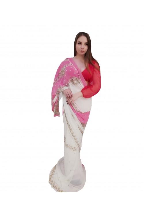 Индийское сари розовое